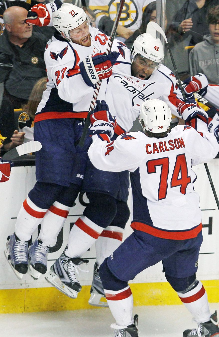 Washington Capitals right wing Joel Ward had the Game 7 overtime goal against the Boston Bruins that pushed the Caps to the second round of the playoffs. (AP Photo/Charles Krupa)