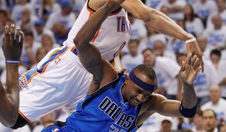 associated press Guard Russell Westbrook (rear) is averaging 28.5 points in the playoffs for Oklahoma City against Dallas.
