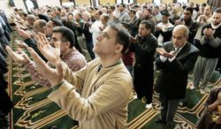 Muslims pray at the Islamic Center of America in Dearborn, Mich. The U.S. Muslim community increased 160 percent from approximately 1 million members in 2000 to 2.6 million in 2010. (Associated Press) ** FILE **