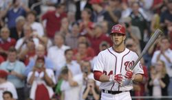 Washington Nationals' Bryce Harper went 0-for-3 in his home debut, as the Nats lost 5-1 to the Arizona Diamondbacks. (AP Photo/Susan Walsh)