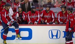 The Washington Capitals bench shows their fatigue in the second overtime before going on to lose to the New York Rangers 2-1 in triple overtime in playoff NHL hockey at the Verizon Center, Washington, D.C., Wednesday, May 2, 2012. (Andrew Harnik/The Washington Times)