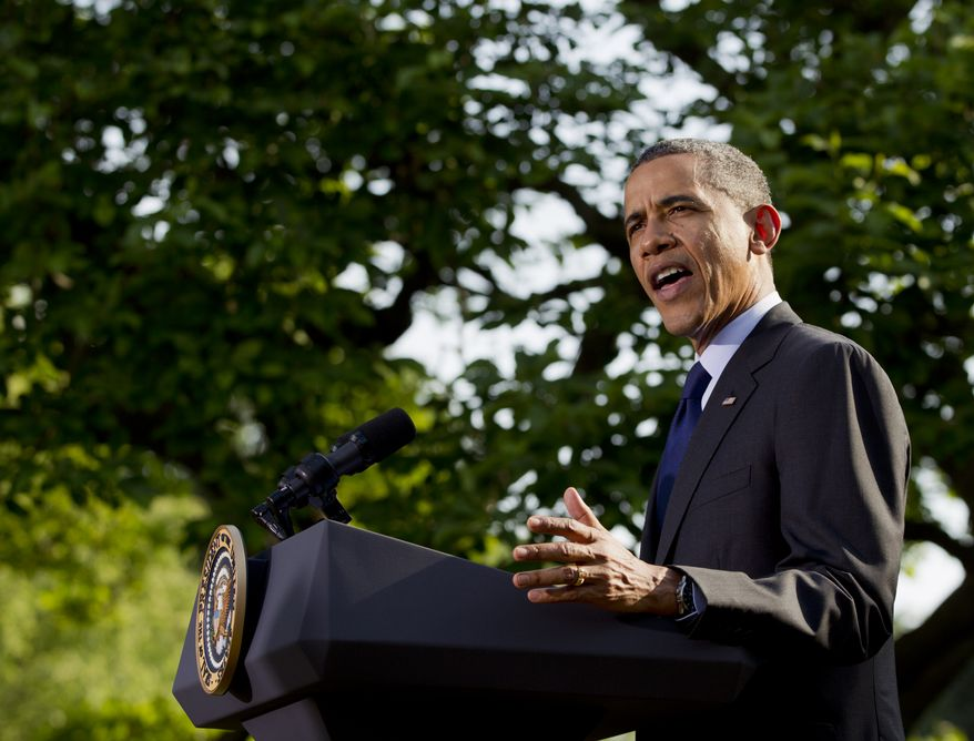 President Barack Obama speaks at a celebration of Cinco de Mayo in the Rose Garden of the White House in Washington, Thursday, May 3, 2012. (AP Photo/Carolyn Kaster)