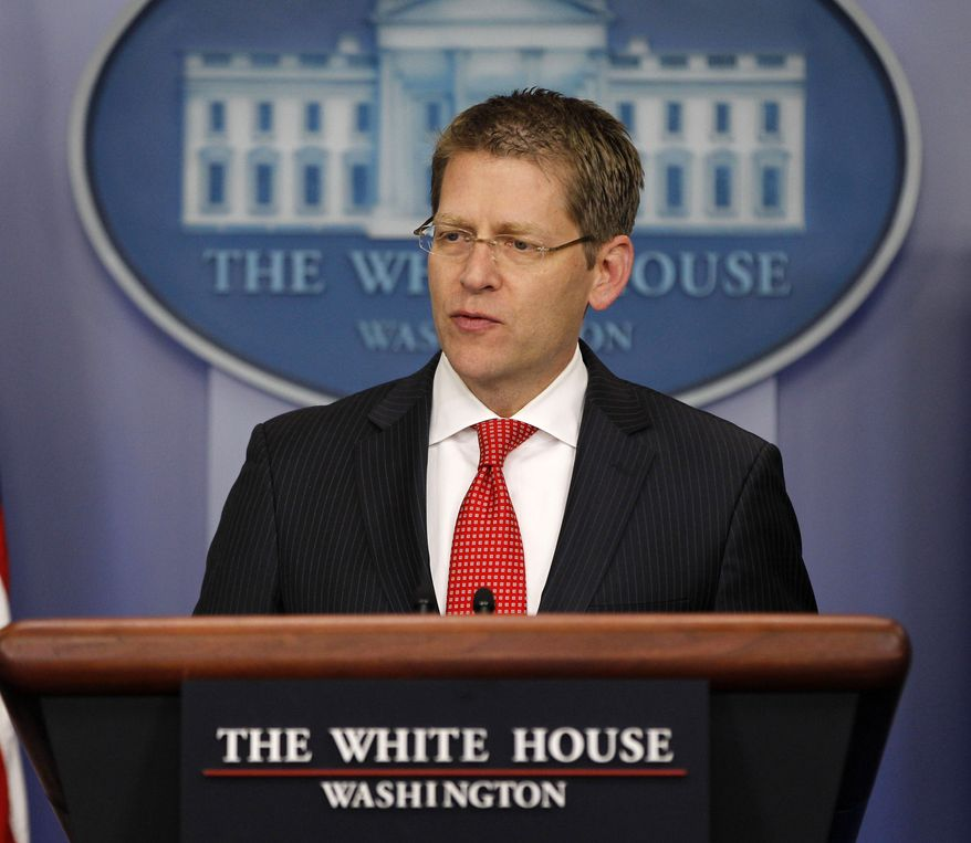 White House press secretary Jay Carney gives his daily news briefing at the White House in Washington on Thursday, May 3, 2012. (AP Photo/Pablo Martinez Monsivais)