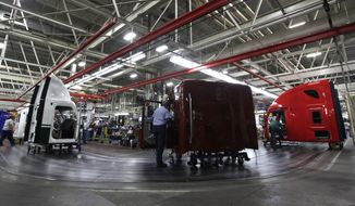 Workers assemble Freightliner trucks at a plant in Cleveland, N.C., on Thursday, Jan. 12, 2012. (AP Photo/Chuck Burton