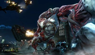 A massive monster attacks James Heller in the video game Prototype 2: Radnet Edition.