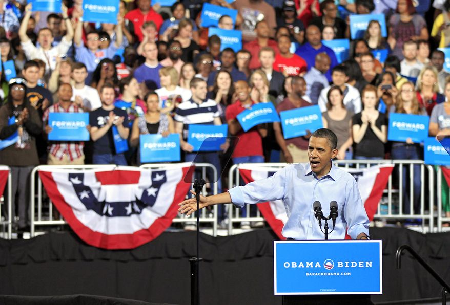 President Barack Obama speaks during a campaign rally at Ohio State University in Columbus, Ohio, Saturday, May 5, 2012. (AP Photo/Mark Duncan)