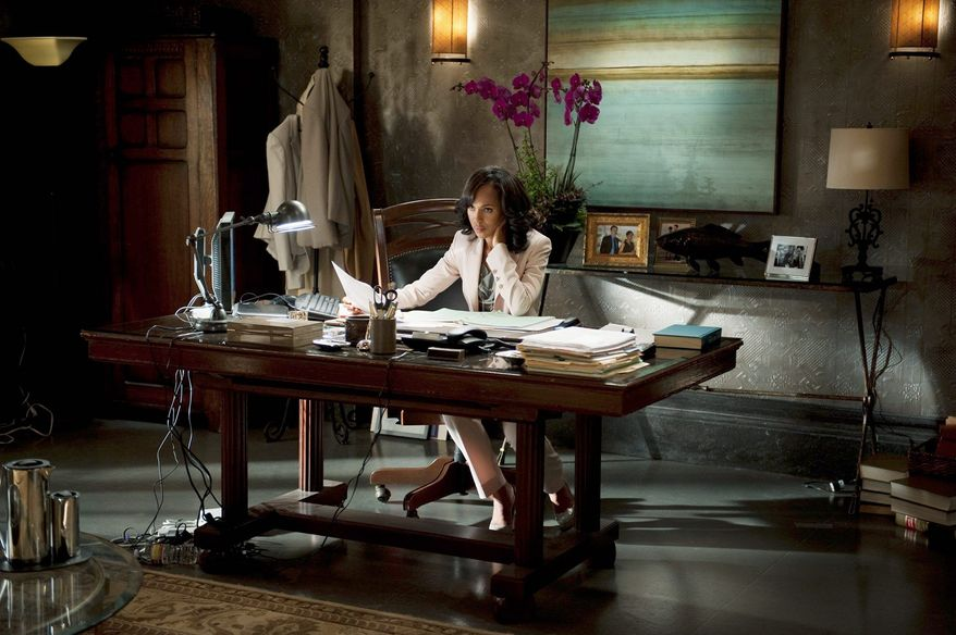 "Handling the fallout from a ""madam"" scandal is all in a day's work for Kerry Washington as Olivia Pope, a ""fixer"" of problems and former lover of the man now occupying 1600 Pennsylvania Ave. ""Scandal"" airs Thursday night on ABC. (ABC via Associated Press"