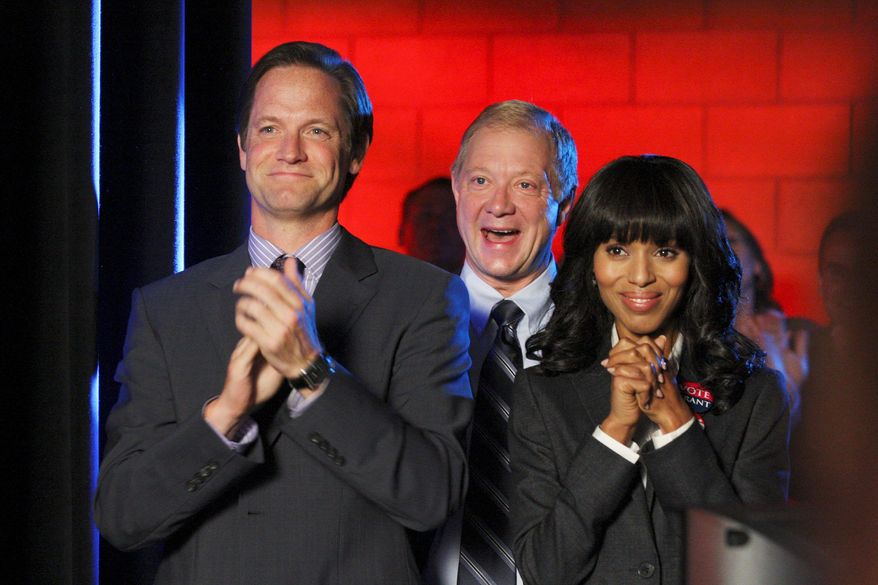 """Cast members Matt Letscher and Jeff Perry are shown in an episode of """"Scandal"""" with star Kerry Washington. Miss Washington plays a Washington insider others go to for help when scandal threatens. (ABC via Associated Press)"""