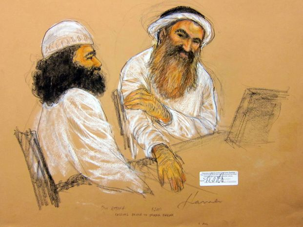 Khalid Sheikh Mohammed (right) and co-defendant Walid bin Attash attend a U.S. military hearing at the Guantanamo Bay Naval Base in Cuba on Saturday, May 5, 2012, in this sketch by courtroom artist Janet Hamlin. (AP Photo/Janet Hamlin, Pool)