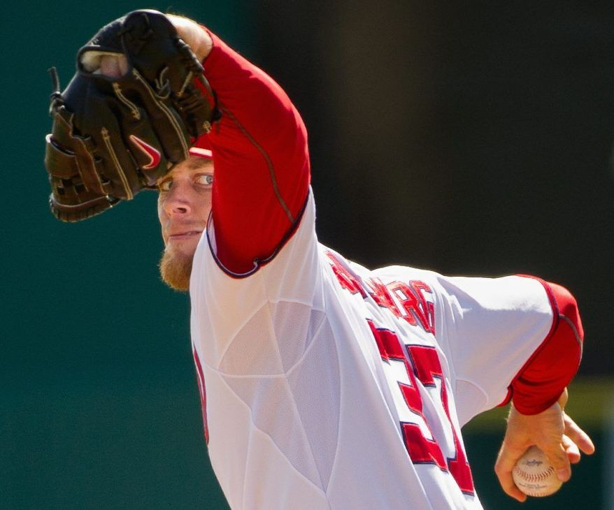 Washington Nationals starting pitcher Stephen Strasburg (37) pitches against the Houston Astros during a spring training game at Space Coast Stadium, Viera, Fla., Sunday, March 4, 2012. The Nationals lost to the Asros 10-2. (Andrew Harnik/The Washington Times)