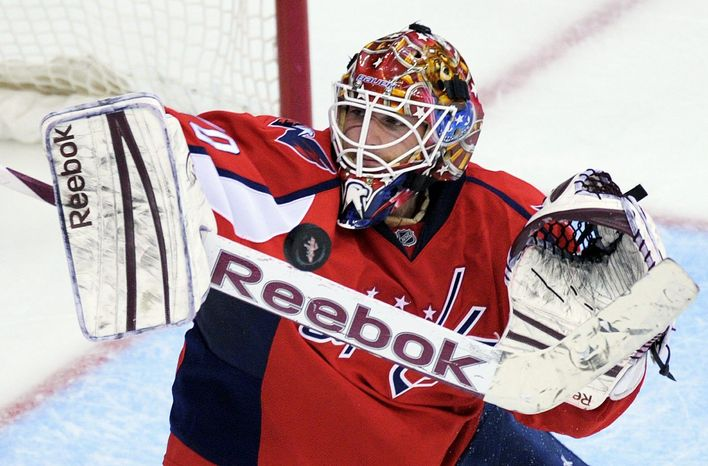 Braden Holtby didn't dwell on the Capitals' triple-overtime loss to the Rangers in Game 3. Instead, he turned aside 18 shots in a 3-2 victory in Game 4 that deadlocked the Eastern Conference semifinal series. (Associated Press)