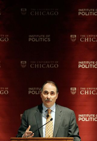 """David Axelrod, former senior advisor to President Barack Obama, speaks during a panel discussion, """"2012: The Path to the Presidency"""", at the University of Chicago in Chicago on Thursday, Jan. 19, 2012. (AP Photo/Nam Y. Huh)"""
