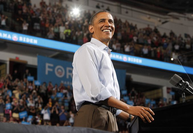President Obama speaks during May 5, 2012, a campaign rally at the Value City Arena in Columbus, Ohio. (Associated Press/Columbus Disp