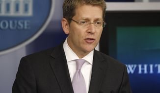 White House press secretary Jay Carney speaks during his daily news briefing at the White House on May, 7, 2012. (Associated Press)