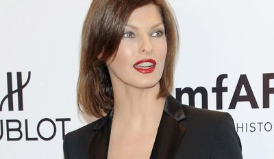 Model Linda Evangelista attends the American Foundation for AIDS Research's gala benefit at Cipriani Wall Street in New York on Wednesday, Feb. 8, 2012. (AP Photo/Evan Agostini)