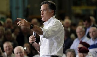 Republican presidential candidate and former Massachusetts Gov. Mitt Romney speaks May 7, 2012, at a town hall style meeting in Euclid, Ohio. (Associated Press)