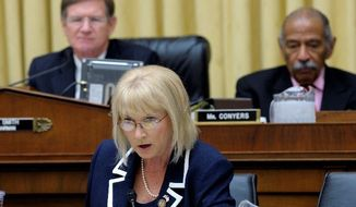 Rep. Sandy Adams, Florida Republican, is the lead author of a bill to renew the nation's domestic-violence prevention law. A House panel passed the bill during a daylong session Tuesday despite the objections of Democrats. (Associated Press)