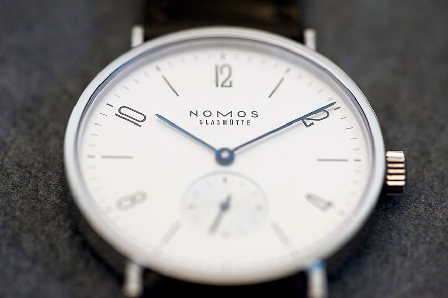 """Details of watches (here the watch """"Tangente"""") from Nomos Glashutte, taken on Thursday, May 26, 2012. Nomos is one of only a few watchmakers worldwide with the designation of manufactory. Christian Burkert/Special to The Washington Times."""