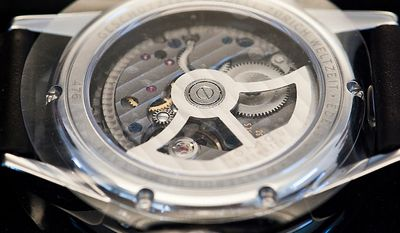 "Details of watches (here the backside of the watch ""Zurich"") from Nomos Glashutte, taken on Thursday, May 26, 2012. Nomos is one of only a few watchmakers worldwide with the designation of manufactory. Christian Burkert/Special to The Washington Times."
