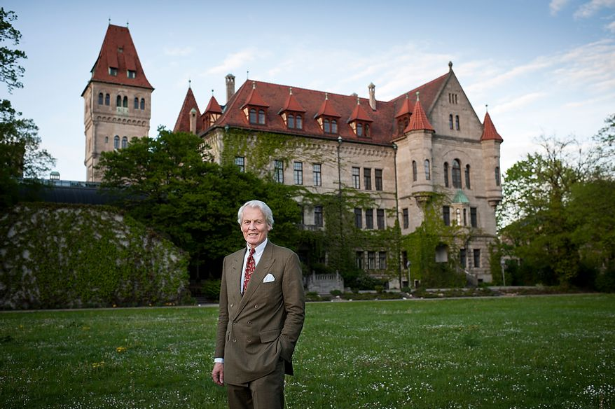 """Portrait of Count Anton Wolfgang von Faber-Castell, chairman of Faber-Castell Aktiengesellschaft, in front of the Faber-Castell Castle in the city of Stein near Nuremberg on Thursday, May 3, 2012. The German company Faber-Castell is one of the world's largest manufacturers of pens, pencils, other office supplies and art supplies, as well as high-end writing instruments and luxury leather goods. Faber-Castell is know for its """"Perfect Pencil"""", an ordinary lead pencil enclosed in a beautiful silver case that includes a sharpener and can be reused as each pencil wears down. Christian Burkert/Special to The Washington Times."""