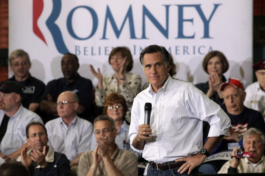 Former Massachusetts Gov. Mitt Romney, the presumptive Republican presidential nominee, speaks at a town-hall-style meeting in Euclid, Ohio, on Monday, May 7, 2012. (AP Photo/Jae C. Hong)