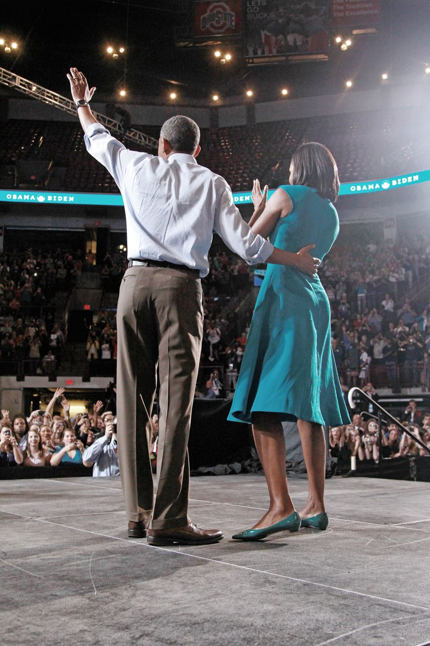 President Obama, whose appearances filled stadiums with enthusiastic crowds in 2008, officially kicked off his re-election campaign Saturday in Columbus, Ohio with first lady Michelle Obama before 14,000 supporters, leaving about a quarter of the seats empty. (Associated Press)