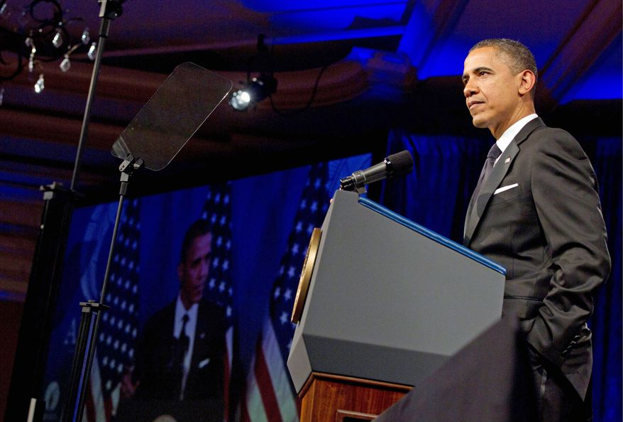 President Obama speaks at the Asian Pacific American Institute for Congressional Studies dinner in Washington on Tuesday. Mr. Obama said Wednesday that he supports same-sex marriage. He reversed his long-stated opposition, saying that his position on the issue evolved over several years. (Associated Press)