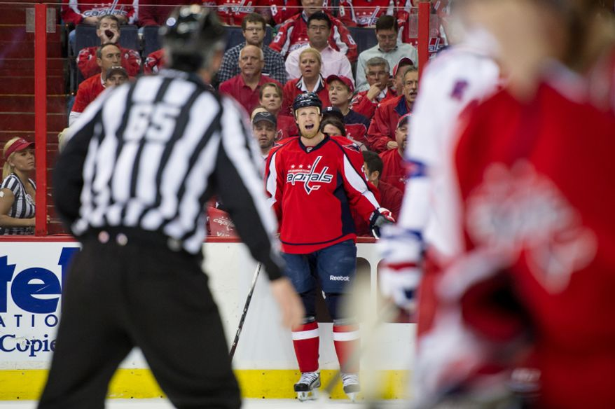 Washington Capitals left wing Jason Chimera (25) argues a offsides call with the ref in the first period as the Washington Capitals take on the New York Rangers in game six of the NHL eastern conference playoffs semifinals at the Verizon Center, Washington, D.C., Wednesday, May 9, 2012 (Andrew Harnik/The Washington Times)