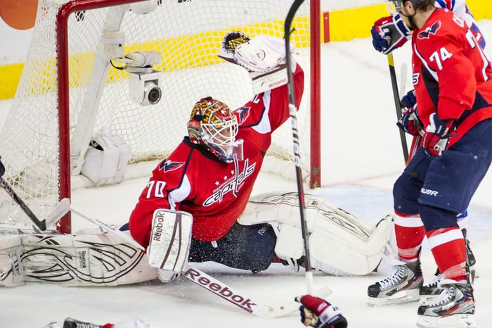 Washington Capitals goalie Braden Holtby is a new father, but he's not going to let that distract him as he faces the New York Rangers in Game 7 of their Eastern Conference semifinal series Saturday night. (Andrew Harnik/The Washington Times)