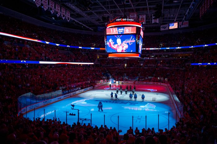 Players stand on the ice for the playing of the National Anthem before the Washington Capitals take on the New York Rangers in game six of the NHL eastern conference playoffs semifinals at the Verizon Center, Washington, D.C., Wednesday, May 9, 2012 (Andrew Harnik/The Washington Times)