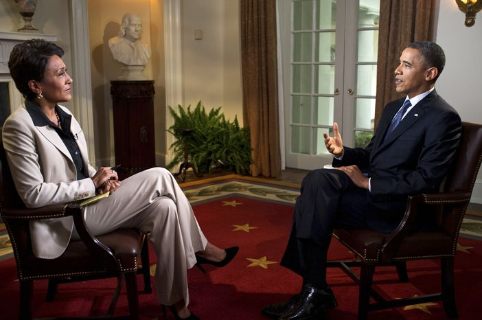 """President Obama participates in an interview with Robin Roberts of ABC's """"Good Morning America"""" at the White House on May 9, 2012. (Associated Press/The White House, Pete Souza)"""