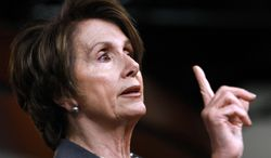 **FILE** House Minority Leader Nancy Pelosi, California Democrat, speaks April 26, 2012, at a news conference on Capitol Hill. (Associated Press)