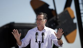 Former Massachusetts Gov. Mitt Romney, the presumptive GOP presidential nominee, speaks at a campaign stop at KP Kauffman Co., an oil and gas production and drilling company, in Fort Lupton, Colo., on Wednesday, May 9, 2012. (AP Photo/Jae C. Hong)