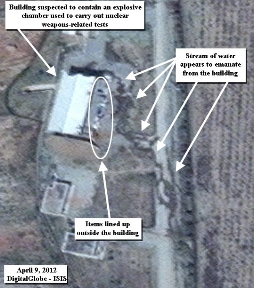 The Institute for Science and International Security (ISIS), a nonprofit that monitors the Iranian nuclear program, published May 9, 2012, on its website this satellite photo of Iran's Parchin military base. (Courtesy of isis-online.org)