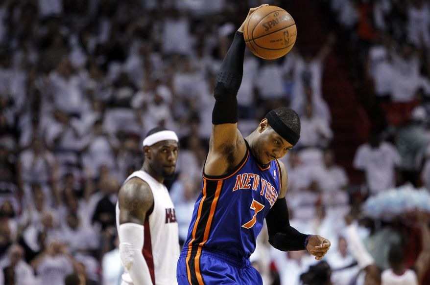 Carmelo Anthony and the New York Knicks lasted five games in the playoffs before being ousted by the Miami Heat in their first-round series. (AP Photo/Lynne Sladky)