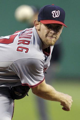 Washington Nationals pitcher Stephen Strasburg tossed six innings, allowing two runs (one earned), while striking out 13. The Nats won 4-2, ending their three-game slide.
