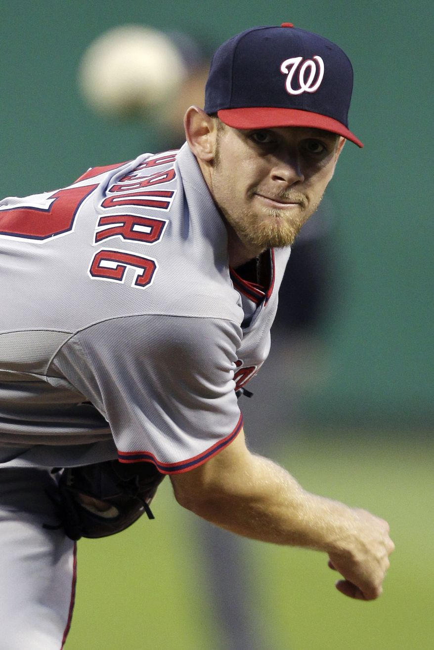 Washington Nationals pitcher Stephen Strasburg tossed six innings, allowing two runs (one earned), while striking out 13. The Nats won 4-2, ending their three-game slide. (AP Photo/Gene J. Puskar)