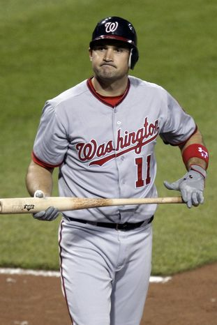 Washington Nationals third baseman Ryan Zimmerman continues to deal with an ailing right shoulder that's affecting his swing. His average has plummeted to .218 and he has just 13 extra-base hits on the season. (AP Photo/Gene J. Puskar)