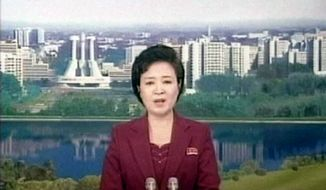 An announcer for North Korean state broadcaster KRT speaks on Friday, April 13, 2012, about the failure of the country's rocket launch. (AP Photo/KRT via AP video)