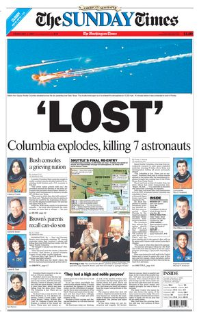 'LOST' Columbia explodes, killing 7 astronauts.