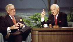 "Johnny Carson, with sidekick Ed McMahon (left), reigned for nearly 30 years on late-night TV. His nightly viewership, averaging as much as 15 million, was more than the current audience of ""Tonight"" successor Jay Leno and CBS rival David Letterman combined. (Associated Press)"