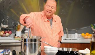 "Chef Mario Batali, co-host of the daytime talk show ""The Chew,"" is participating in a food stamp challenge, which provides $31 per person for a week. (ABC via Associated Press)"