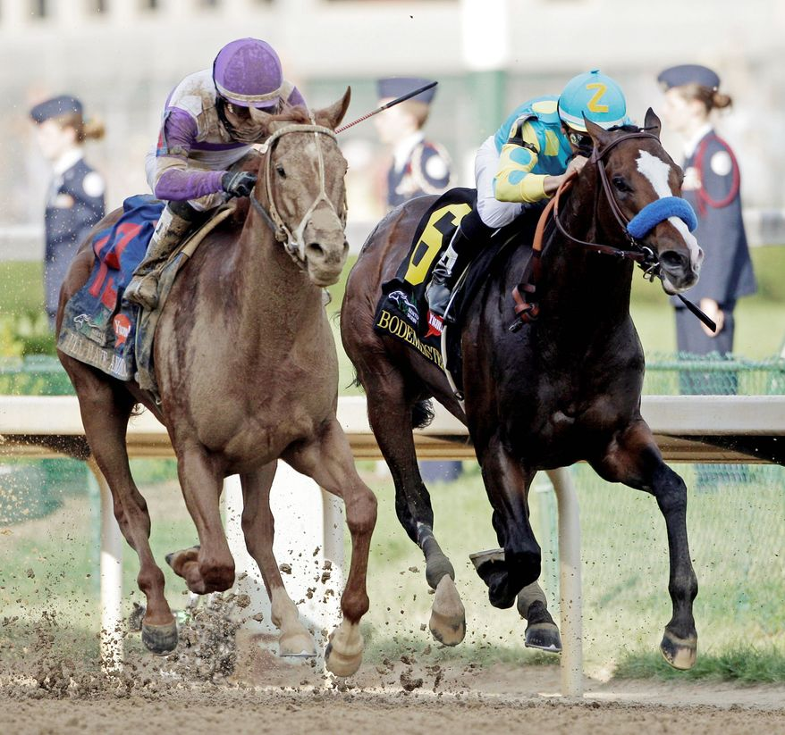 I'll Have Another (left) surged past Bodemeister in the final 100 yards to pull off the upset in the Kentucky Derby on May 5. Both horses are entered in the Preakness Stakes, the second leg of horse racing's Triple Crown. (Associated Press)