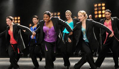 """A """"Glee"""" episode features (from left) Lea Michele, Jenna Ushkowitz, Amber Riley, Heather Morris, Dianna Agron and Naya Rivera. (Associated Press)"""