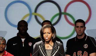 "Michelle Obama is behind the ""Let's Play!"" program, a fitness initiative aimed at combating childhood obesity. (Associated Press)"