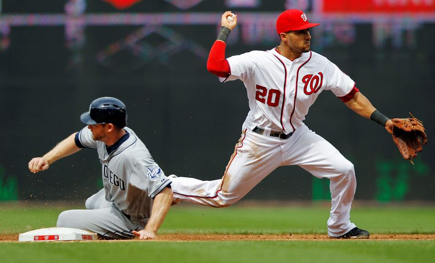 Washington Nationals shortstop Ian Desmond, right, turns a double play on a ball hit by San Diego Padres' Yonder Alonso as Chase Headley slides into second during the ninth inning of a baseball game, Tuesday, May 15, 2012, in Washington. The Padres won 6-1. (AP Photo/Haraz N. Ghanbari)