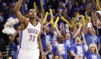 Forward Kevin Durant, a D.C. native, scored 25 points in the Thunder's 119-90 win over the Lakers in Game 1 of their Western Conference semifinal series Monday. (Associated Press)