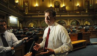 Colorado House Speaker Frank McNulty talks in the House chamber at the Capitol in Denver on Monday, May 14, 2012, after lawmakers rejected a civil-unions bill in front of hundreds of observers. It was the second time within a week the bill failed. (AP Photo/Denver Post, Helen H. Richardson)