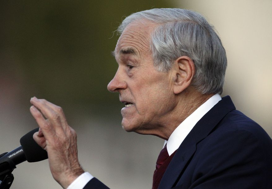 Rep. Ron Paul, Texas Republican, speaks at the University of California at Berkeley on Thursday, April 5, 2012. (AP Photo/Ben Margot)