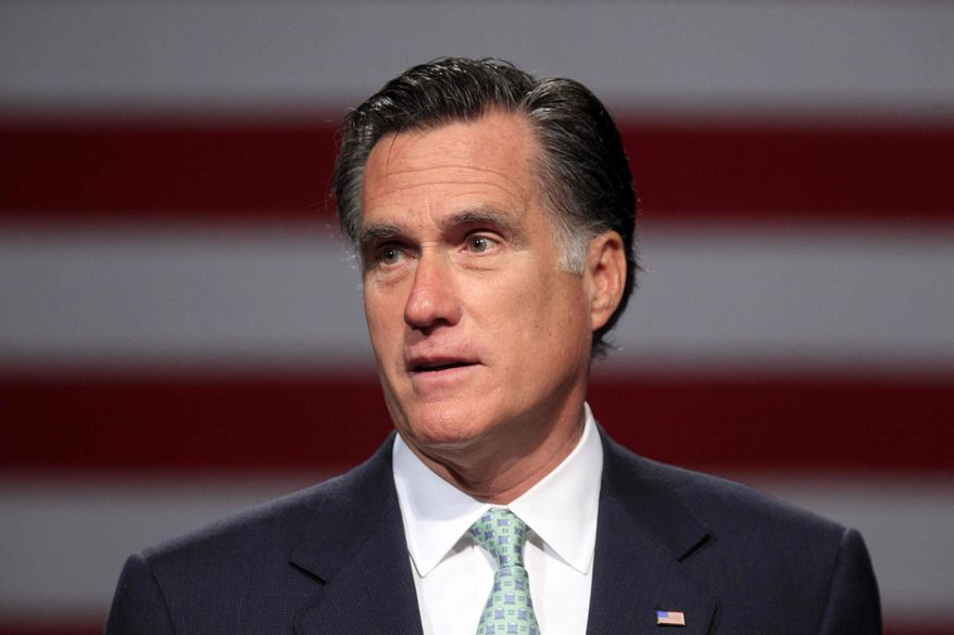 ** FILE ** In this May 8, 2012, file photo, Republican presidential candidate, former Massachusetts Gov. Mitt Romney speaks in Lansing, Mich. (AP Photo/Carlos Osorio, File)